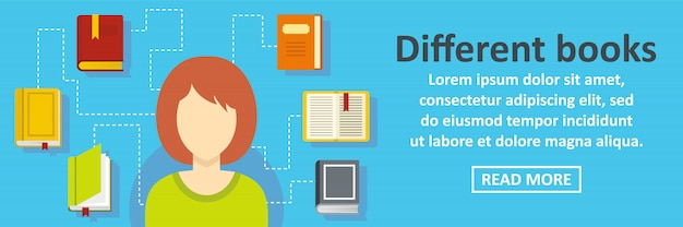 Concetto orizzontale del modello differente dell'insegna dei libri