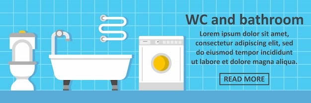 Concetto orizzontale dell'insegna del bagno e del wc