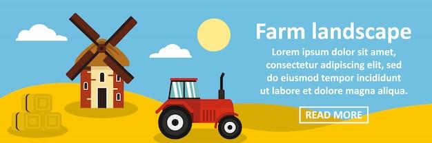 Concetto orizzontale dell'insegna del paesaggio dell'azienda agricola