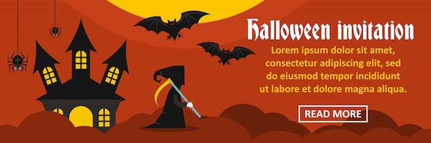 Concetto orizzontale dell'insegna dell'invito di halloween