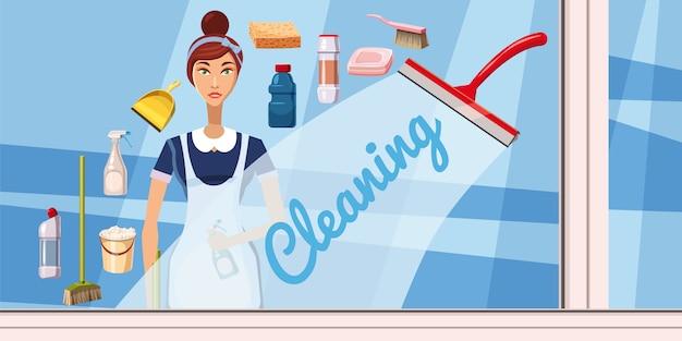 Concetto orizzontale dell'insegna della ragazza di pulizia. illustrazione del fumetto del concetto orizzontale di vettore dell'insegna della ragazza di pulizia per il web
