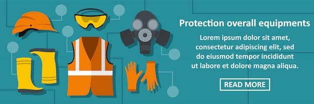 Concetto orizzontale dell'insegna delle attrezzature globali di protezione
