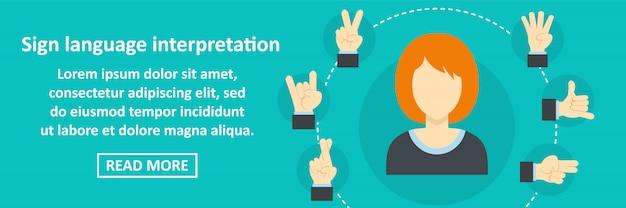 Concetto orizzontale dell'insegna di interpretazione di linguaggio dei segni