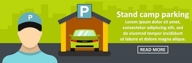 Concetto orizzontale dell'insegna di parcheggio del campo del supporto