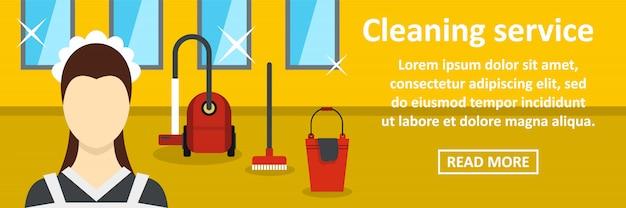 Concetto orizzontale dell'insegna di servizio di pulizia