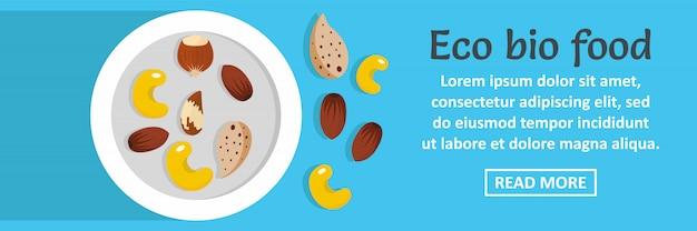 Concetto orizzontale di eco bio cibo banner modello