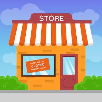 Concetto pandemico con negozio chiuso