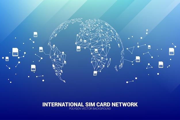 Concetto per il servizio e la rete internazionali della carta sim.
