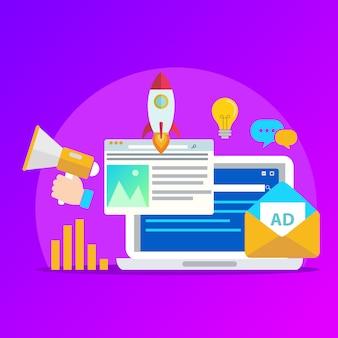 Concetto per l'agenzia di marketing digitale, illustrazione vettoriale piatto di campagna digitale media con elementi.