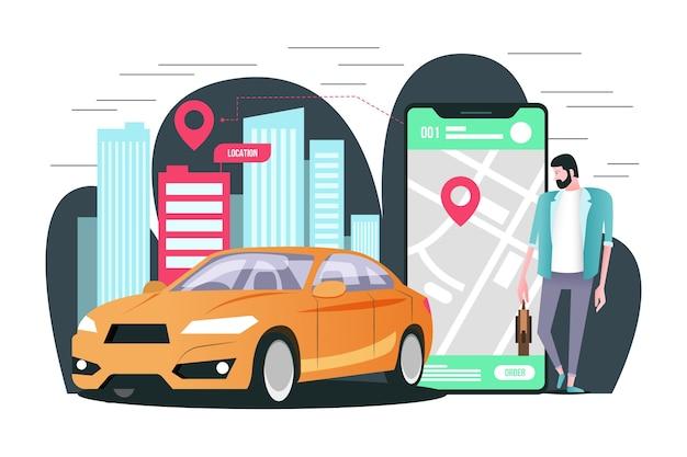 Concetto per l'applicazione di taxi
