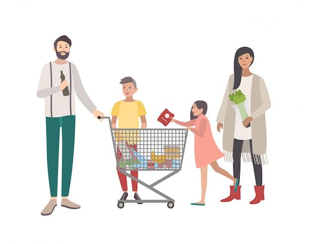 Concetto per supermercato o negozio. famiglia felice, persone con carrello. illustrazione piatta colorata.