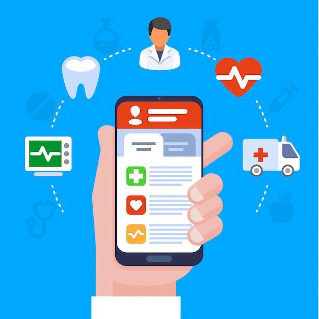 Concetto piano dell'illustrazione di servizi medici. computer portatile con appunti medici. le icone piane creative hanno messo gli elementi per le insegne di web, i siti web, infographics.