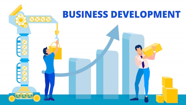 Concetto piano dell'insegna di vettore di sviluppo di affari