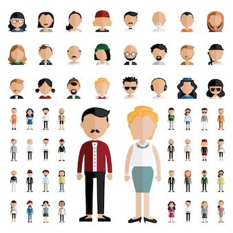 Concetto piano delle icone di progettazione della gente della comunità di diversità