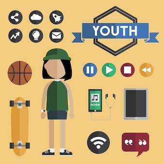 Concetto piano delle icone di progettazione della ragazza della gioventù