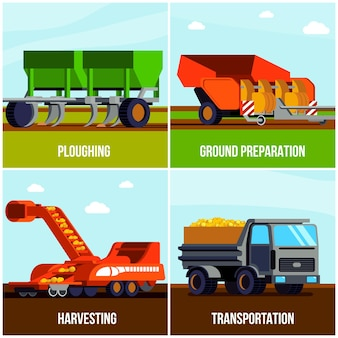Concetto piano di produzione di patate con la raccolta e il trasporto dell'aratura della preparazione a terra isolati