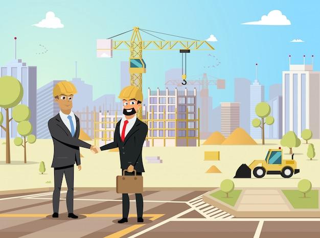 Concetto piano di vettore dei soci commerciali della costruzione