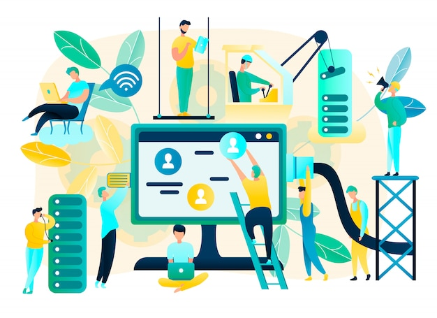 Concetto piano di vettore della rete di internet della costruzione