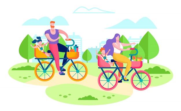 Concetto piano di vettore delle biciclette di guida della famiglia felice