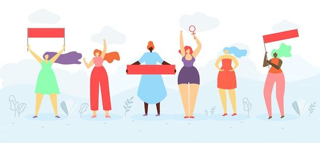 Concetto piano di vettore di proteste pubbliche di femministe