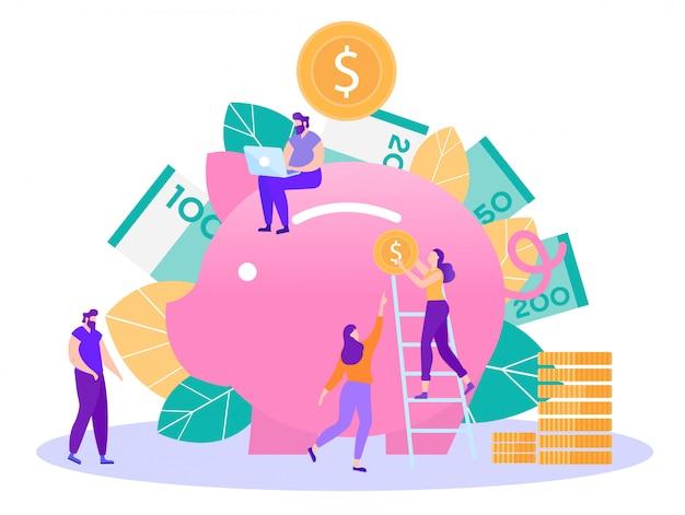 Concetto piano di vettore di risparmio dei soldi e di attività bancarie