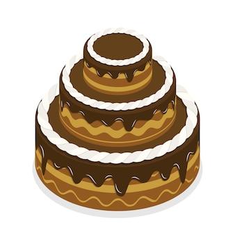 Concetto piano isometrico 3d della torta di cioccolato