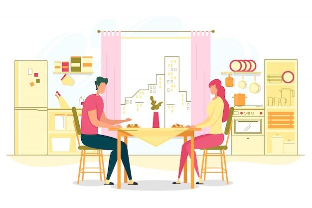 Concetto piano romantico della cena a casa