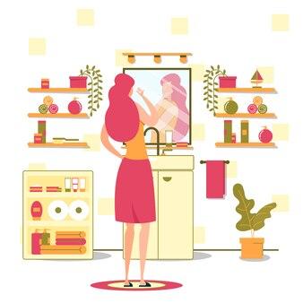 Concetto piano sistematico di vettore di sera di igiene delle donne