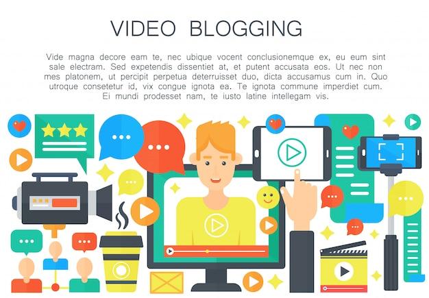 Concetto piatto di blogger video maschio
