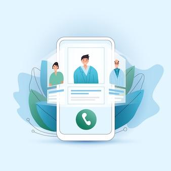 Concetto piatto di consultazione medica online. scegli il tuo medico, terapista nel tuo smartphone. schermo del telefono con terapista scelto e sessione online. consulenza medica online tele medicina.