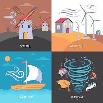 Concetto piatto di energia eolica