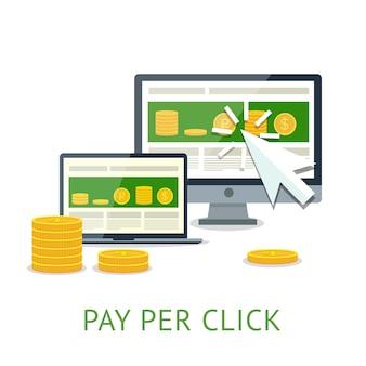 Concetto piatto di modello di pubblicità su internet pay per click quando si fa clic sull'annuncio