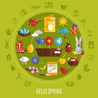 Concetto piatto di pasqua di primavera