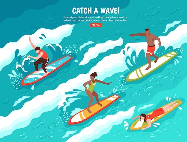 Concetto praticante il surfing dell'onda di cattura
