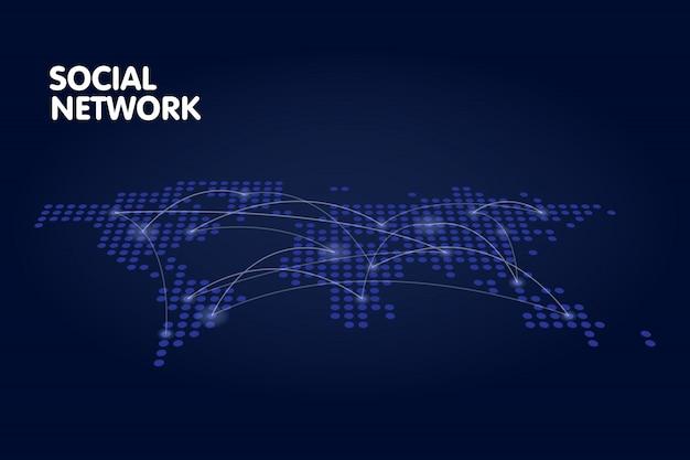 Concetto punteggiato di tecnologia di rete della mappa di mondo