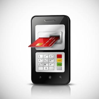 Concetto realistico di attività bancarie mobili con il telefono cellulare e la carta di credito