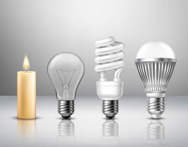 Concetto realistico di evoluzione della luce dalla candela