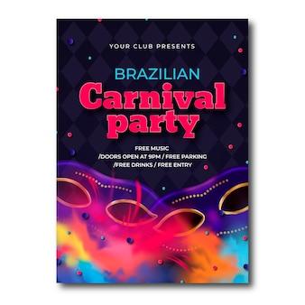 Concetto realistico per il modello di volantino carnevale brasiliano