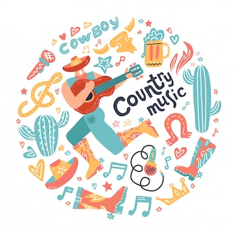 Concetto rotondo con cowboy misician ed elementi di musica country