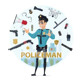 Concetto rotondo degli elementi dell'ufficiale di polizia