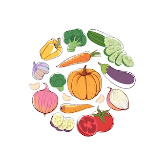 Concetto rotondo di cibo vegano