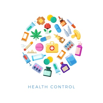 Concetto rotondo di controllo sanitario medicinale - le bottiglie luminose delle pillole drogano le icone