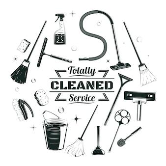 Concetto rotondo di elementi di servizio di pulizia di schizzo