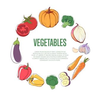 Concetto rotondo di verdure fresche