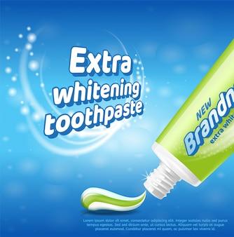 Concetto sano dei denti del dentifricio in pasta d'imbiancatura extra
