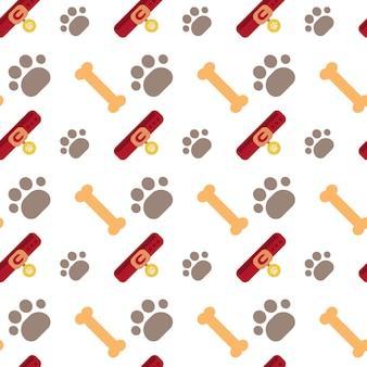 Concetto senza cuciture degli animali domestici dell'ornamento dell'estratto del modello della zampa del cane e delle ossa