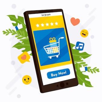 Concetto sociale del telefono cellulare di vendita di media con acquisto