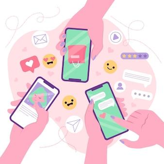 Concetto sociale del telefono cellulare di vendita di media con la gente insieme