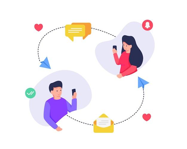 Concetto sociale di messaggistica di comunicazione di media fra l'uomo e la donna con l'icona di posta in arrivo di messaggistica di amore
