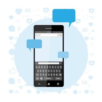 Concetto sociale, un nuovo messaggio e una chat su internet. notifiche su un nuovo messaggio nello smartphone con una tastiera.